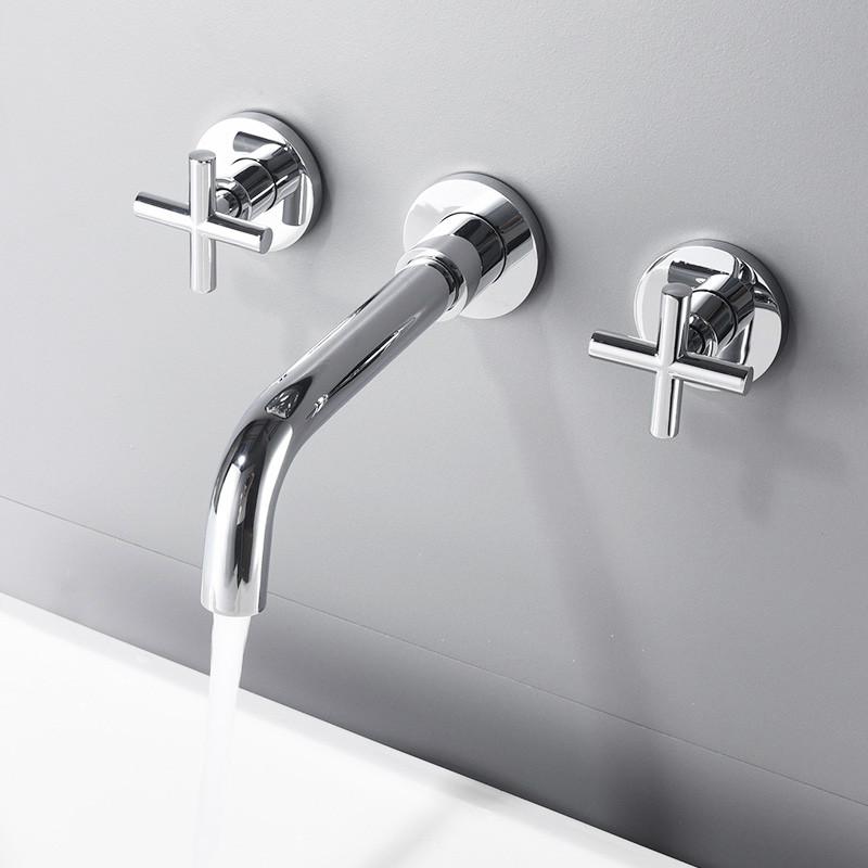Vòi chậu lavabo âm tường màu chrome Miken MKV-600002