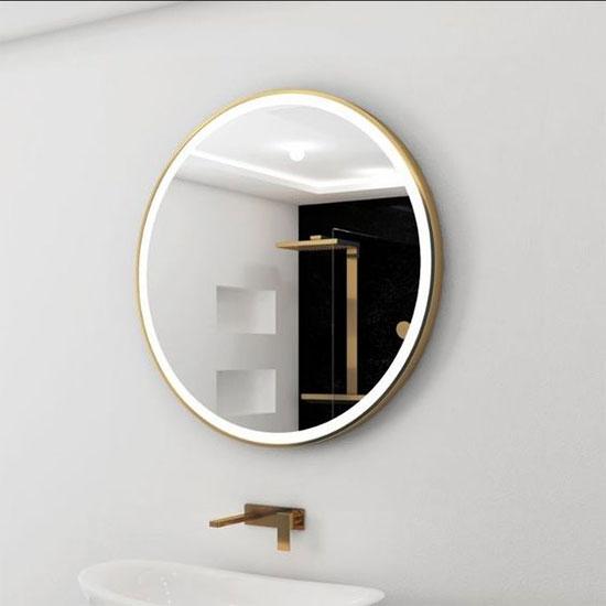 Gương đèn led khung inox mạ vàng MIKEN MKG-T002