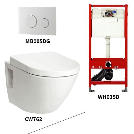 Bộ bồn cầu treo tường Toto CW762/WH035D/MB005DG