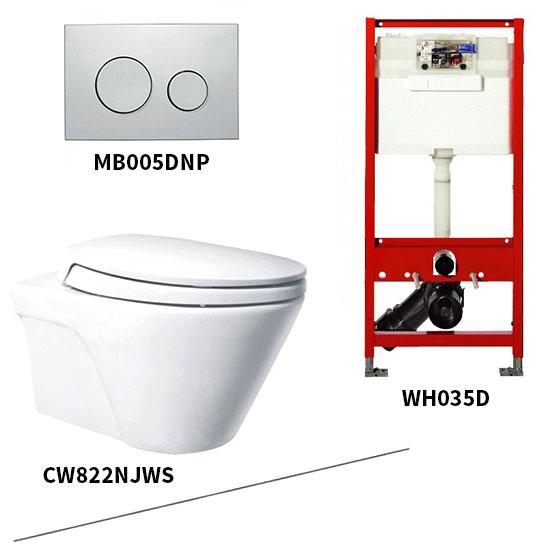Bộ bồn cầu treo tường Toto CW822NJWS/WH035D/MB005DNP