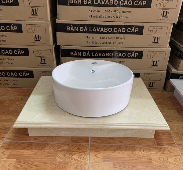 Mặt bàn đá chậu rửa lavabo HM-7050-3