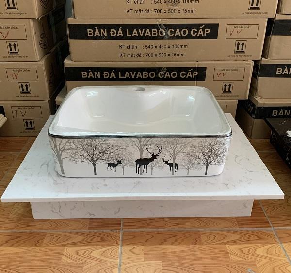 Mặt bàn đá chậu rửa lavabo HM-7050-4