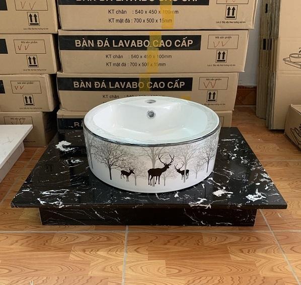 Mặt bàn đá chậu rửa lavabo HM-7050-5