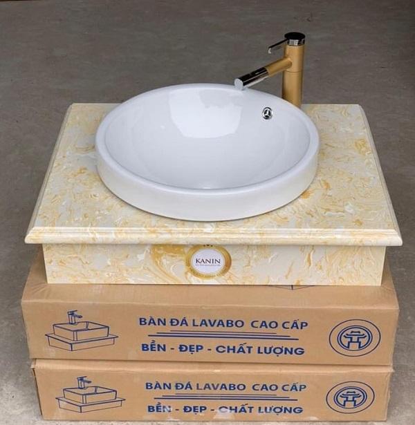 Mặt bàn đá chậu rửa lavabo HM-7051-3