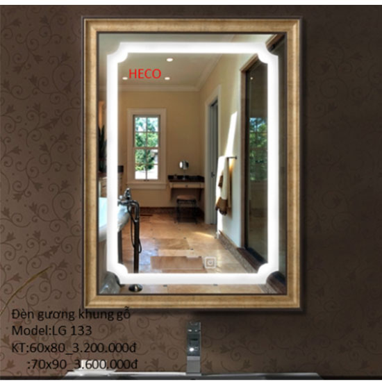 Gương đèn led khung gỗ Heco LG-133