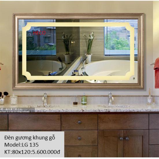 Gương đèn led khung gỗ Heco LG-135