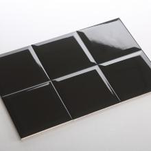 Gạch thẻ ốp tường vuông đen bóng vát 150x150 M151507X