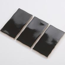 Gạch thẻ ốp tường đen bóng lượn sóng 75x150 M751505L