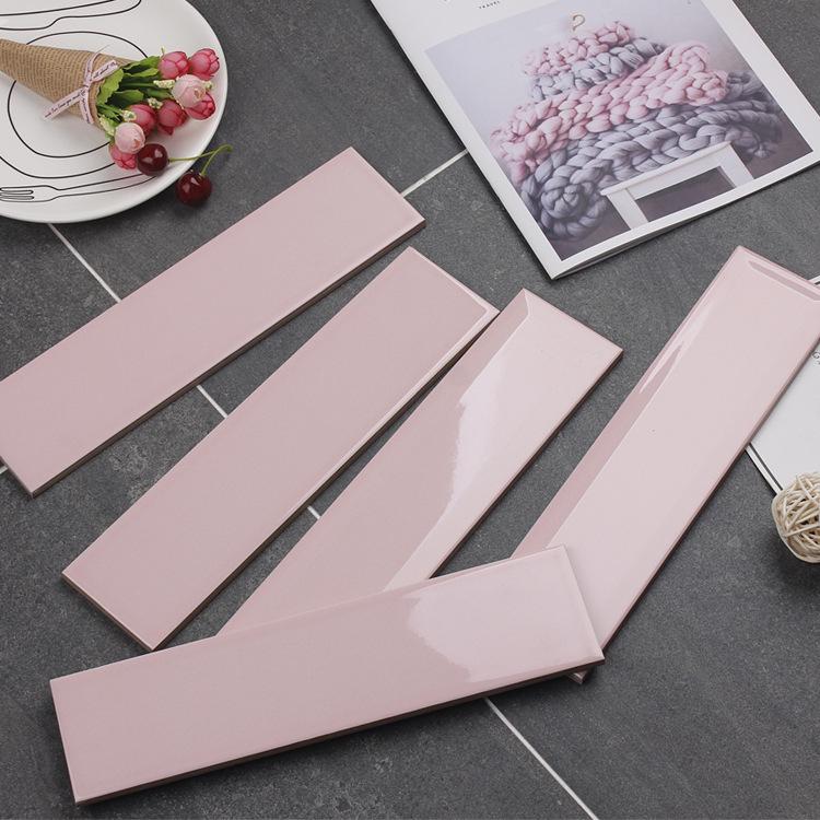 Gạch thẻ ốp tường hồng bóng phẳng 75x300 M75316Z