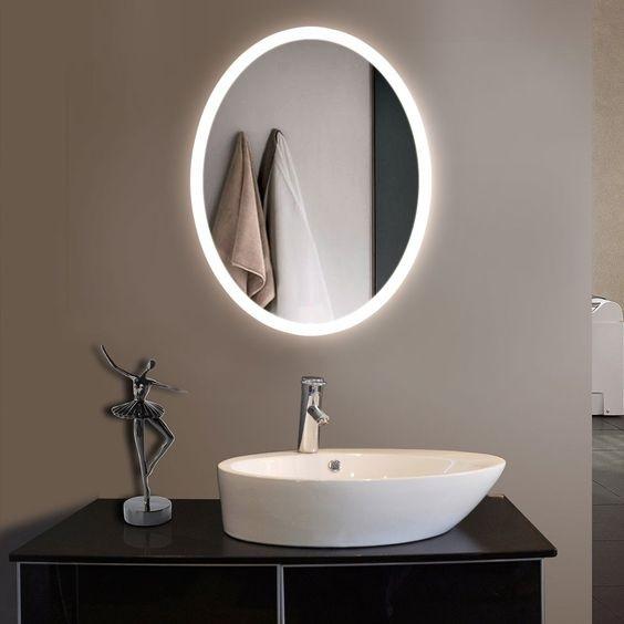 Gương led phòng tắm hình oval MIKEN MKG-PT007