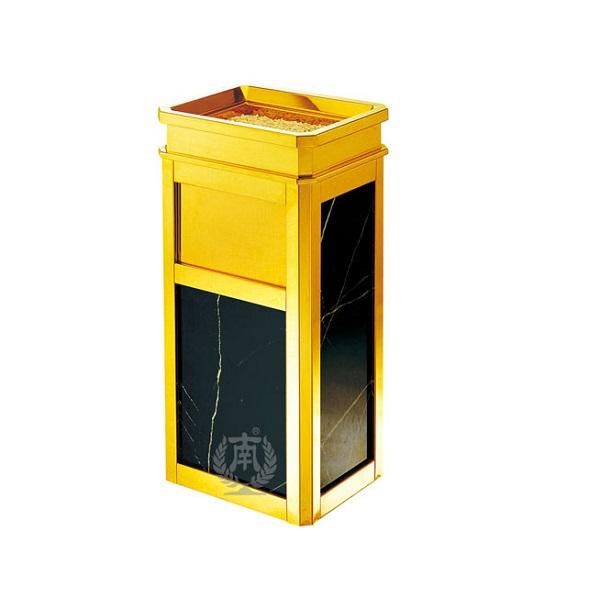 Thùng rác Inox mạ vàng có gạt tàn MKR-901