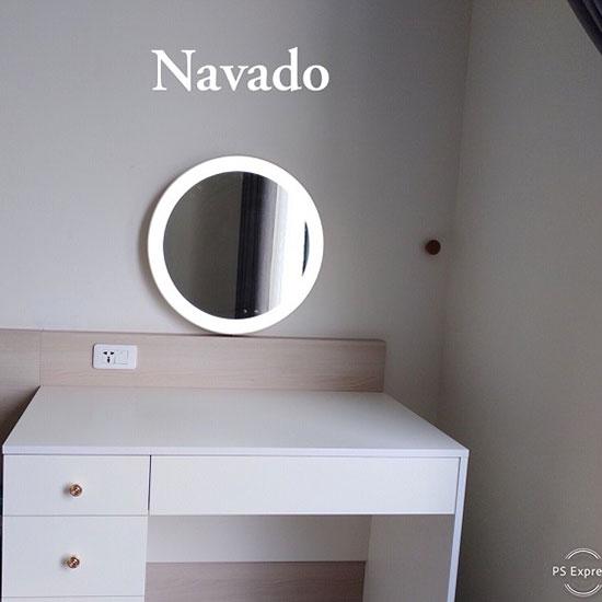 Gương trang điểm đèn led bọc dây da Navado No15534
