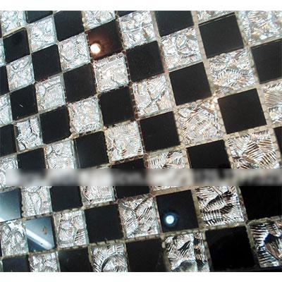 Gạch ốp trang trí phòng karaoke Mosaic Bọt Đen Trắng