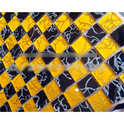 Gạch ốp trang trí phòng karaoke Mosaic Bọt Vàng Đen