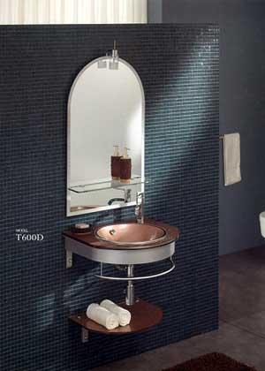 Chậu kính tủ inox không gỉ liền gương SENLI T600D