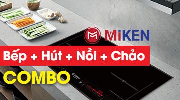 Combo Bếp từ Miken hút mùi nồi chảo từ