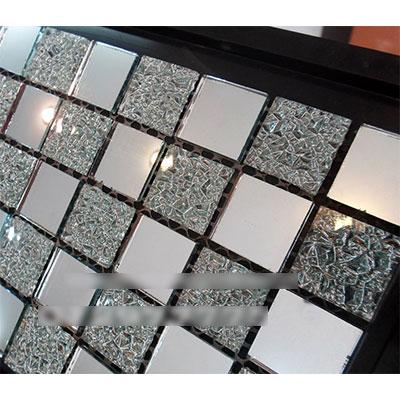 Gạch ốp trang trí phòng karaoke Mosaic Kính Gương Bạc