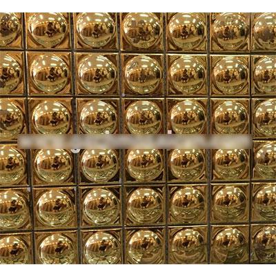 Gạch ốp trang trí phòng karaoke Mosaic Lồi Liền Vàng