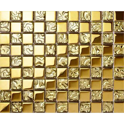 Gạch ốp trang trí phòng karaoke Mosaic Ô Vuông Mạ Vàng