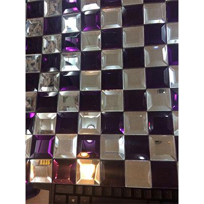 Gạch ốp trang trí phòng karaoke Mosaic Vát Trắng Tím